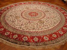 Hand-Knotted Carpet 10x10 Ivory New Silk Round Plush Feel Tabriz Rug
