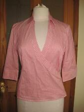 Cotton Blend Collared Fitted Striped Tops & Shirts for Women