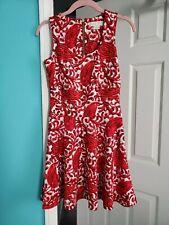 MICHAEL Michael Kors Red White Abstract Paisley Sleeveless Skater Dress OP