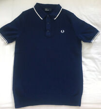 Fred Perry Knitted Textured Polo - M - Blue With White Tips - Mod Casuals 60's