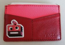 Fossil Color block  Card Case- Leather- Crimson (red) pink-square robot face