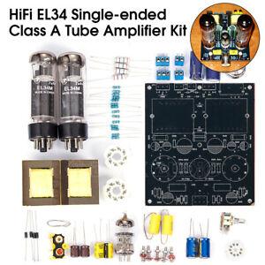 HiFi EL34 Valve Tube Amplifier Class A Single-ended Stereo Audio Amp DIY Kit