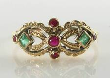COMBO 9CT 9K YELLOW GOLD EMERALD  RUBY MASK ART DECO INS RING FREE SIZE