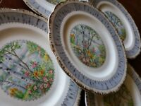 5 Vintage ROYAL ALBERT CROWN CHINA ENGLAND SILVER BIRCH SALAD PLATES PLATE