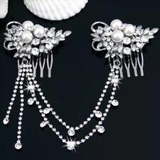 Bridesmaid Bridal Wedding Crystal Pearl Hair Comb HairPiece Tiara Slide Prom