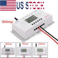 10A 20A 30A 40A Solar Panel Charge Controller Regulator 12V/24V MPPT Timer GA