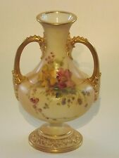 ROYAL WORCESTER BLUSH IVORY HAND PAINTED FLOWER DECORATED VASE, GILT HANDLES