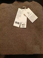 Men Uniqlo U 3D Knit Seamless Premium Lambswool Mock Neck Jumper M Grey