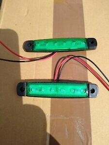 2x 24v Smd 6 Led Green Rear Side Marker Lights Set Position Truck Trailer Lorry