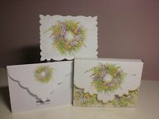 Carol's Rose Garden -  Note Card in carrying case - Floral Wreath  (10 pcs)