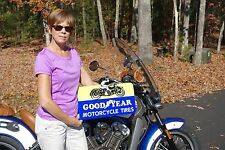 OLD STYLE MOTORCYCLE HARLEY INDIAN BIKE GOODYEAR TIRE MOTORCYCLE SIGN USA MADE