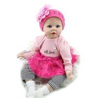 Reborn Baby Doll Soft Vinyl Silicone Newborn Girl 22'' Dolls+Clothes Birth Gift