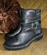 ZARA WOMAN LEATHER STUDDED ANKLE HARNESS BOOTS BLACK MOTORCYCLE FUR LINED 36 6 M