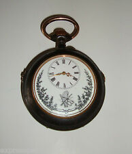 ANTIQUE MUSICAL GUNMETAL POCKET WATCH 62MM 1890-1900 ACIER GARANTI