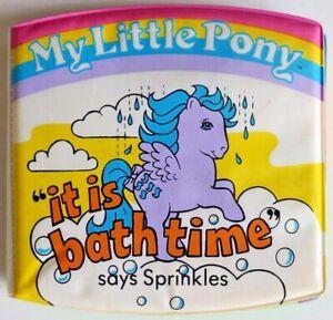 "Vintage MY LITTLE PONY MLP - ""it is bath time"" says Sprinkles - Hasbro 1985 Book"