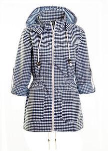 Women's Hooded Rain Mac Retro Style Mac Ladies Showerproof Gingham Check Jacket