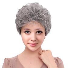 Grey Senior Women Short Curly Real Human Hair Wig Natural Full Wigs Cosplay