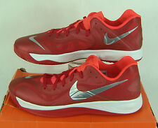 """New Mens 17.5 NIKE """"Hyperfuse LOW TB"""" Gym Red Silver Basketball Shoes $100"""