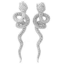 De Buman Sterling Silver Diamond Snake Earrings (G-H, SI1-SI2)