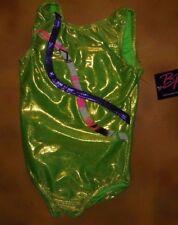 NWT BP Designs Gymnastic Lime Foil Tank Leotard Purple Peace Stripe Youth Small