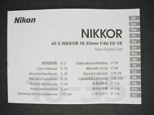 Nikon AF-S Nikkor 16-35mm f/4G ED VR Camera Lens User's Manual