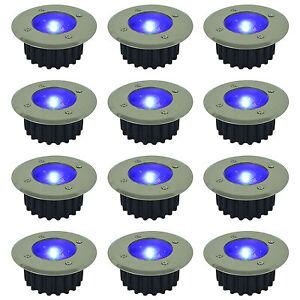 6 PACK BLUE LED SOLAR POWERED GARDEN DECKING DECK LIGHTS PATIO DRIVEWAY
