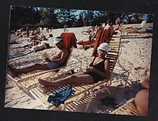 Vintage Photograph Sexy Woman & Man in Bathing Suits on Lounge Chairs at Beach
