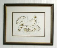 EDDY COBINESS Lithograph Art 4-Color GROUSE FAMILY Framed Matted 59/400 N12