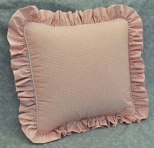 """Pillow made w Ralph Lauren Ruffled Gwen Pink Gingham 16"""" trim ruffle & cord NEW"""