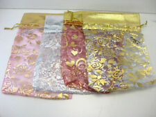 """100 Organza Silky Jewellery Pouches String Bags 3""""X4"""" For Gift Coin Mixed Colour"""