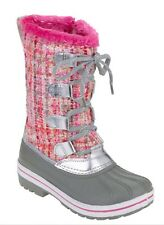 Ozark Trail Sz 5 Girl's Youth Lace Up Boucle Winter Boot Pink Zipper Gray Pink
