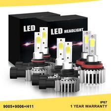LED Headlight 9005 + 9006 + H11 6500K White 180W 39600LM Combo Kits Hi/Low Bulb
