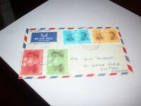 4 Mauritius Stamps on Air Mail envelope stamped 8 Jan 1962 Flight BOAC