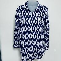 J. Crew Blouse Size S Button-up Shirt Tunic Collared Long Sleeve Blue White
