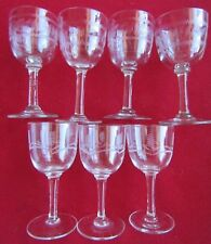 7 VICTORIAN GLASSES  CRYSTAL ETCHED PEDESTAL SHERRY LIQUER NIP