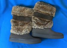 CROCS Faux Fur Boots UK 4.5 EU 37 Brown Calf Length