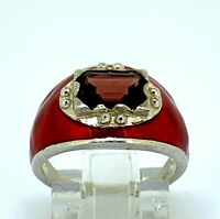 Granat Ring Granat & rote Emaille  925er Silber ANTIK STYLE  # 52