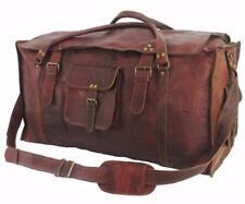 Large Men's Leather Vintage Duffel Luggage Weekender Gym Carry on Travel Bag