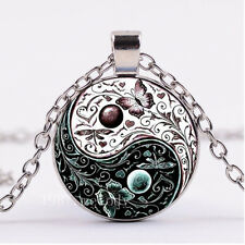 NEW Cabochon Silver/Bronze/Black Glass Necklace pendant(yin yang butterfly)