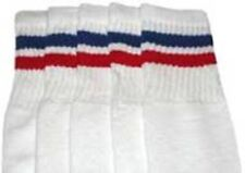 """22"""" KNEE HIGH WHITE tube socks with ROYAL BLUE/RED stripes style 2 (22-29)"""