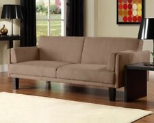 NEW Futon Sofa Bed Tan Microfiber Couch - Modern Full Size Sleeper - SHIPS FREE