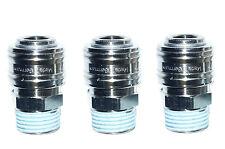 """3 x Druckluftkupplung Druckluft – Schnellkupplung Kupplungsdose 1/2""""  NW7 msv"""