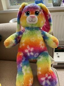 Build  a Bear Workshop  Rainbow Tie Dyed multi coloured Bunny Rabbit 15 Inches