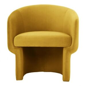 "28"" W Club Chair Mustard 100% Polyester Fabric Modern Contour Wood Frame"