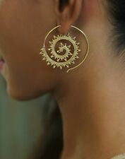 Tribal Brass Earring Dangle Gypsy Spiral Hoop New Ornament Women Unique Gold