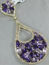 c72e4ea8b5e8 Moderno Diamante Amatista 14 Quilates Oro Amarillo Colgante Racimo de Pera