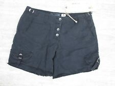 NEW Da Nang Frayed Button Front Silk Blend Shorts in BLACK Size LARGE RSS5359