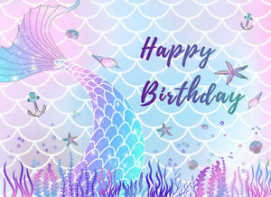 7x5ft Girls Birthday Colorful Mermaid Tail Scale Vinyl Backdrop Photo Background