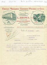 Dépt 44 - Nantes 5 Rue Châteaulin - Belle Entête Faïences & Verreries de 1925