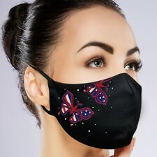 Facemask Filter Pocket Black Washable Reusable Embroidery Rhinestones Custom